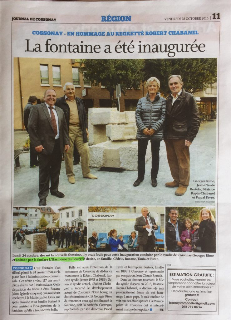 Journal de Cossonay du 28 novembre 2016